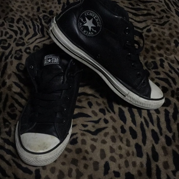 mens black leather converse shoes